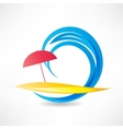 Relaxing on the beach abstraction icon vector