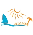 Summer time symbol with yacht and sun vector