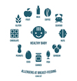 Allergens at breast feeding icons vector