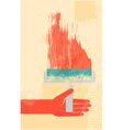 Hand with roller brush retro poster vector