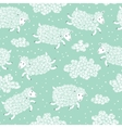 Seamless pattern with cute sheep and clouds vector