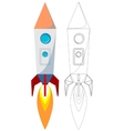 Flying rocket with illyuminotor and flames from vector
