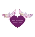 Colorful line art flowers birds holding heart vector