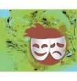 Vintage theater masks emblem in color vector