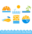 Set of signs sea beach image vector