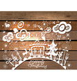 Christmas card with wood vector