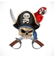 Jolly roger in pirat hat and with sabers and red vector