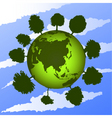 Green earth on blue sky vector