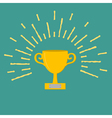 Winner gold cup trophy award symbol in flat design vector
