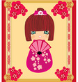 Kokeshi doll cartoon character beautiful abstract vector
