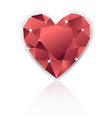 Shiny red heart diamond with reflection vector