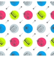 Music flat line retro seamless pattern with vector