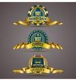 Golden badges with laurel wreath vector