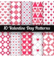 Heart shape seamless patterns pink color vector