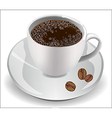 Cup of coffee on a white background with coffee be vector