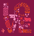 Valentine day love message floral vector