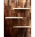 Empty shelf for exhibit on wood background eps 10 vector