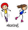 Two girls skating vector