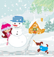 Little girl building snowman vector