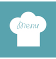 Big chef hat with word menu inside flat design vector