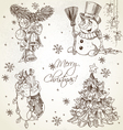Merry christmas vintage sketch draw set vector