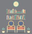Flat design interior vintage chairs and bookshelf vector