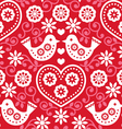 Folk art red seamless pattern with birds vector