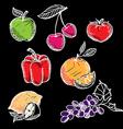 Chalkboard fruit set vector