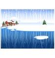 Winter snow landscape background vector