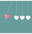 Four hanging hearts dash line perpetual motion lov vector