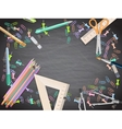 School supplies on blackboard background eps 10 vector