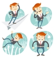 Set of hipster officeman office man flying an vector