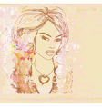 Abstract beautiful woman portrait - retro card vector
