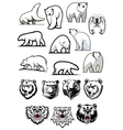 White polar bear cartoon characters vector