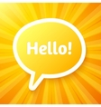 Yellow speech bubble with sign hello vector