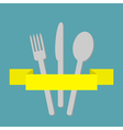 Fork spoon and knife inside yellow ribbon menu vector