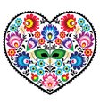 Polish folk art art heart embroidery with flowers vector