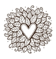 Heart with leaves and flowers vector