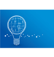 Creative light bulb with global design on blue bac vector