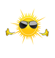Sun with sunglass cartoon art vector