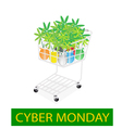 Lovely tree pot in cyber monday shopping cart vector