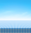 Empty picnic table covered with blue checkered tab vector
