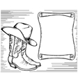Western background with cowboy boots and scroll vector