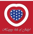 4th of july card with heart and contours vector
