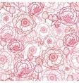 Poppy flowers line art seamless pattern background vector