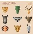 African animal portrait set with flat design vector
