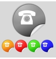 Retro telephone web icon set colourful buttons vector
