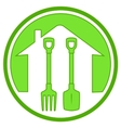 Green icon with gardening tools vector