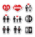 Couple breakup divorce broken family icon vector