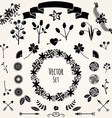 Hand drawn set vintage style design elements vector
